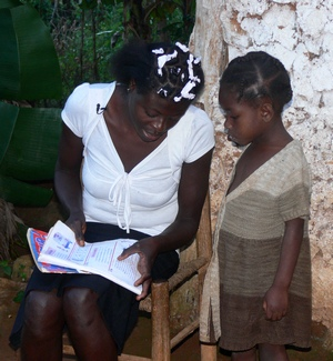 Lotanie and daughter reading